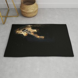 Flaming electric guitar Rug