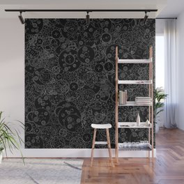 Clockwork B&W inverted / Cogs and clockwork parts lineart pattern Wall Mural