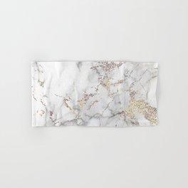 Champagne Rose Gold Blush Metallic Glitter Foil On Gray Marble Hand & Bath Towel