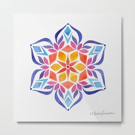 Snowflake - Blue and Yellow Metal Print