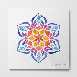 Snowflake - Blue and Yellow Metal Print