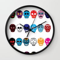 sugar skulls Wall Clocks featuring Sugar Skulls by pwrighteous