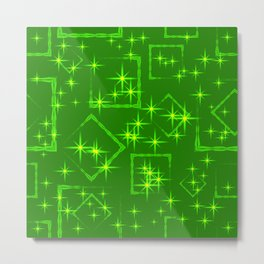 Lime diamonds and squares at the intersection with the stars on a green background. Metal Print