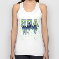 seahawks Tank Tops featuring Seattle 12th Man Art Watercolor Space Needle Painting  by Olechka