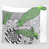 turtles Wall Tapestries featuring Turtles by Kandus Johnson