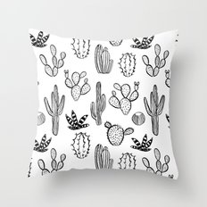 Cactus desert southwest palm springs festival house plant succulent terrarium black and white art Throw Pillow