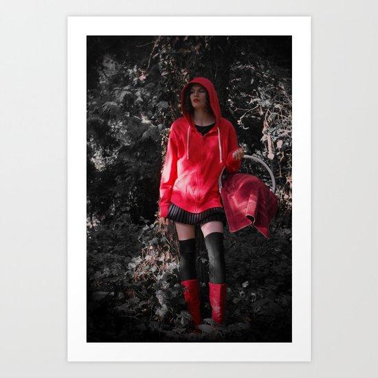 red in the hoodie Art Print