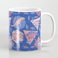 edm Mugs featuring Nineties Dinosaurs Pattern  - Rose Quartz and Serenity version by chobopop