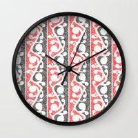 maori Wall Clocks featuring Maori Kowhaiwhai Distressed Pattern by mailboxdisco