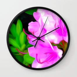 Painted Rhododendron - Pink 2 Wall Clock