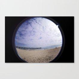 Beach through the eye of a fish Canvas Print