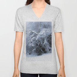 Snow covered branches Winter cold at Creamers Field Fairbanks  Alaska Unisex V-Neck