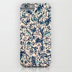 Teal Garden - floral doodle pattern in cream & navy blue iPhone 6s Slim Case