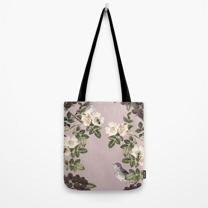 Birds and the Bees Pink Berry Tote Bag