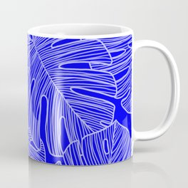 Cobalt Monstera Leaves Coffee Mug