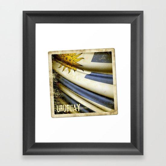 Grunge sticker of Uruguay flag Framed Art Print