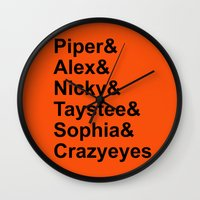 oitnb Wall Clocks featuring OITNB Orange Inmates Names by Double Dot Designs