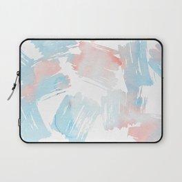 Pastel coral teal modern watercolor paint brushstrokes Laptop Sleeve