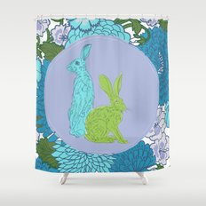 The hare amid the flowers Shower Curtain