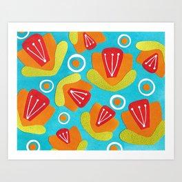 Orange Floral Art Print