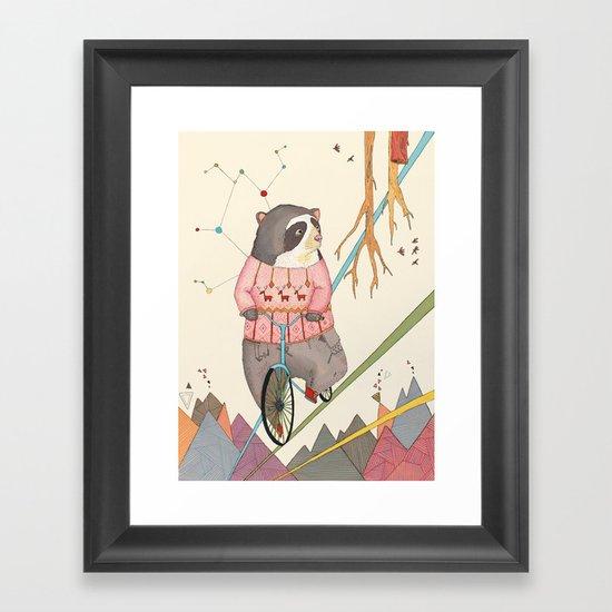 Bear in bicycle Framed Art Print
