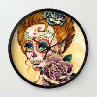 fitzgerald Wall Clocks featuring Dia de los Muertos Roses by Cathy FitzGerald