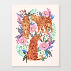 The Leopards, leopard print, animal print, flower print Canvas Print