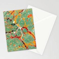 Marbled Green Orange Stationery Cards
