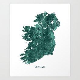 Ireland Watercolor Map Art by Zouzounio Art Art Print
