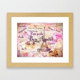 Bon Appetit French food words Framed Art Print