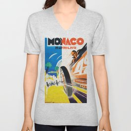 Grand Prix Monaco, 1931, vintage poster Unisex V-Neck