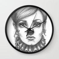 clown Wall Clocks featuring Clown by Robin Ewers