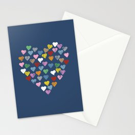 Distressed Hearts Heart Navy Stationery Cards