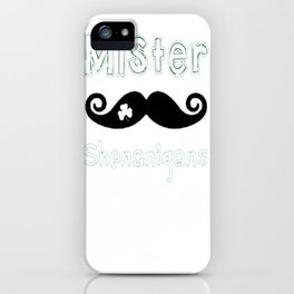 St. Patricks Day Shamrock Mens and Boys Mustache T-Shirt iPhone Case
