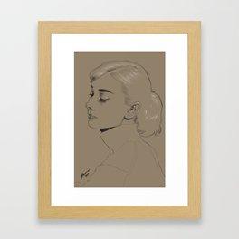 Audrey Hepburn monochrome Framed Art Print