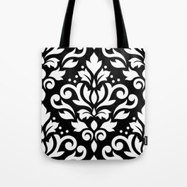Scroll Damask Large Pattern White on Black Tote Bag