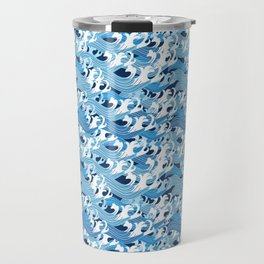 Beautiful seamless vector pattern graphic blue sea waves Travel Mug