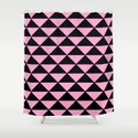 Graphic Geometric Pattern Minimal 2 Tone Infinity Triangles (Pastel Pink & Black) by aej_design