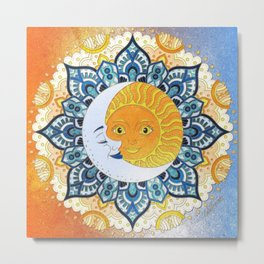 Sun and Moon Mandala Metal Print