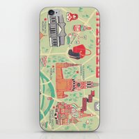 moscow iPhone & iPod Skins featuring Moscow Map by Ashley Ross