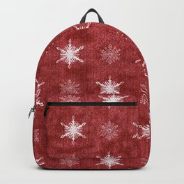 White Snowflakes on Red Christmas Pattern Backpack