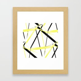 Criss Crossed Lemon Yellow and Black Stripes on White Framed Art Print