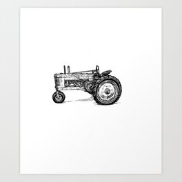 Easily Distracted By Tractors Farmer T-Shirt Art Print