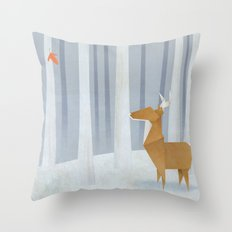 Origami deer in the Woods Throw Pillow