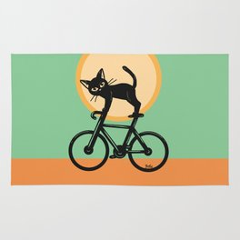 Cat loves a bike Rug