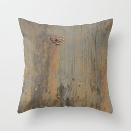 Disgusting Grungy Rusty Wounded Painted Metal Throw Pillow