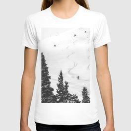 Backcountry Skier // Fresh Powder Snow Mountain Ski Landscape Black and White Photography Vibes T-shirt