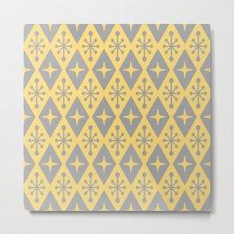 Mid Century Modern Atomic Triangle Pattern 711 Yellow and Gray Metal Print