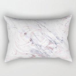 Touch of Rose White & Grey Marble Swirl Rectangular Pillow