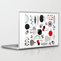 50s Laptop & iPad Skins featuring Mushroom Berries Nuts and Fruits / Classic 50s pattern by In The Modern Era